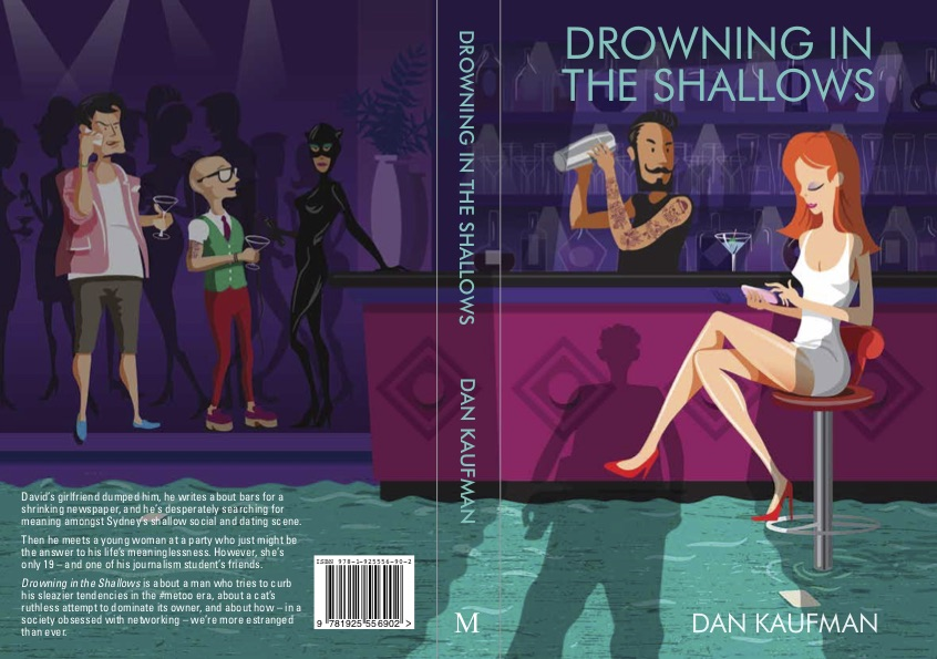 The front and back cover of Drowning in the Shallows, a satire on Sydney society